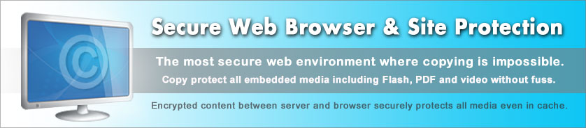 Copy protect web data and media using the most secure web browser.